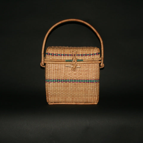 African Basket Lidded Handcrafted in Cameroon Vintage - Cultures International From Africa To Your Home