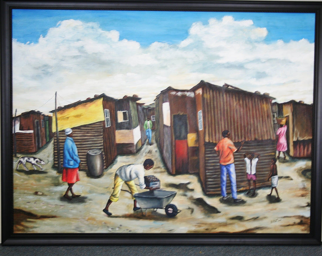 "African Art Painting Dunoon DuNoon Informal Settlement in South Africa Original Painting 46.5""W X 36""H X 1.5""D - Cultures International From Africa To Your Home"