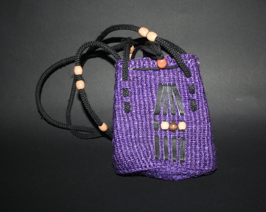 "Purple Shoulder Bag South Africa Basketweave With Leather and Beading Small 7""H X 4""W Double Straps 14""L"