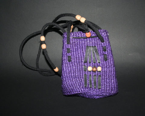 "Purple Shoulder Bag South Africa Basketweave With Leather and Beading Small 7""H X 4""W Double Straps 14""L - Cultures International From Africa To Your Home"