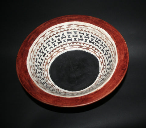 "African Clay Bowl Tribal Design Pottery Large - Tribal Design  5.5""H X 13""D"