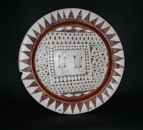 "African Clay Plate Tribal Design Pottery Large Decorative Plate Tribal Design  15.5""D X 1.75'H"