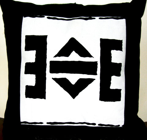 Designer Abstract African Tribal Cushion Cover Handmade -  Black & White