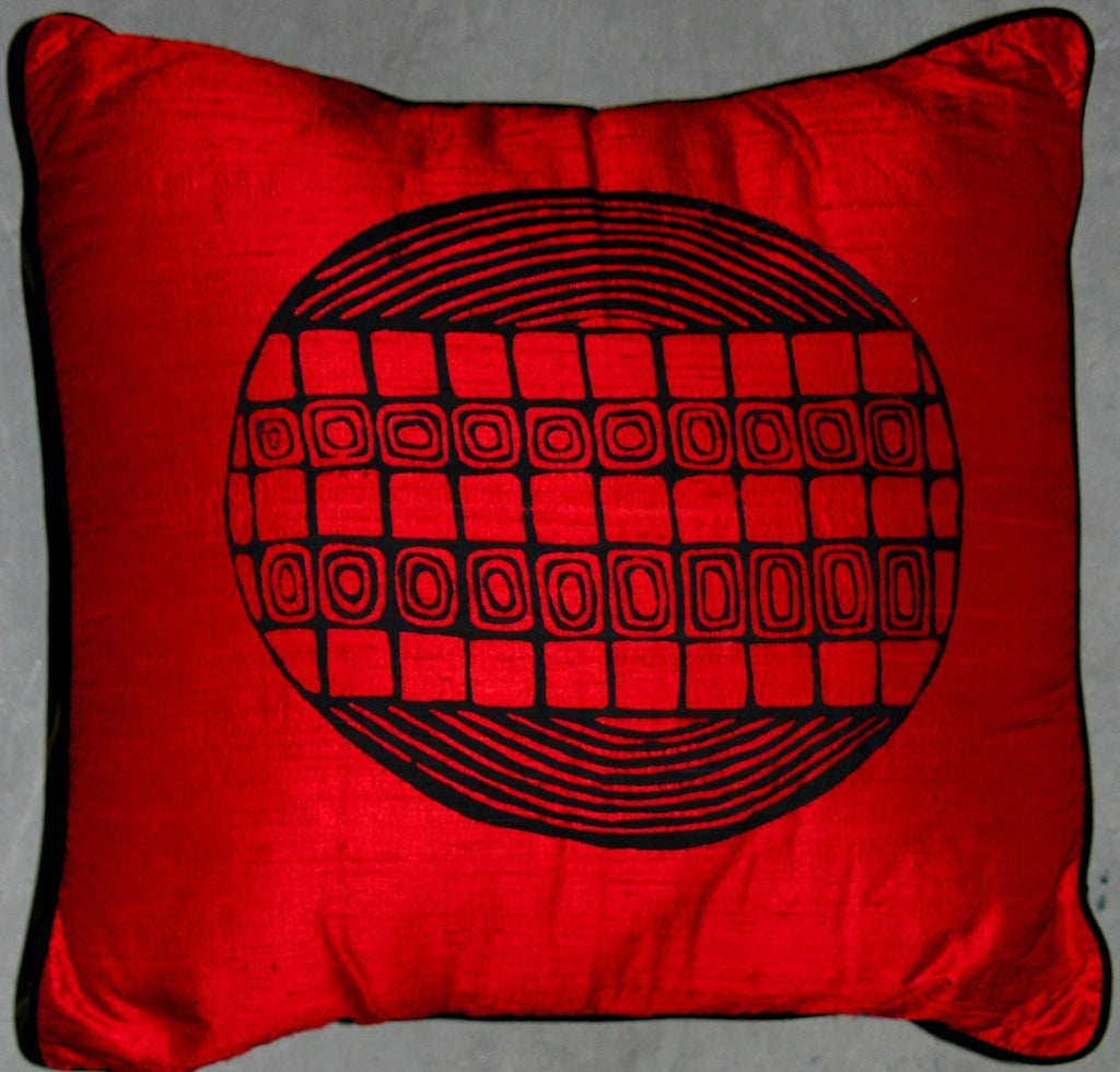 Designer Handwoven Red Raw Silk Pillow African Tribal Design - Cultures International From Africa To Your Home