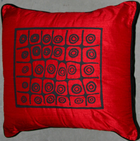 Designer Red Handwoven Raw Silk Pillow African Tribal Design
