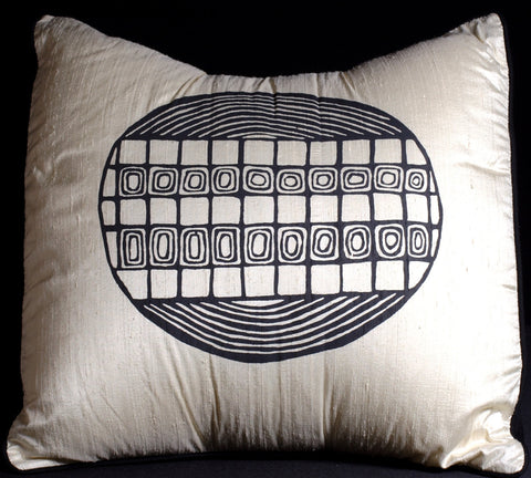 Designer Handwoven Cream & Black Raw Silk Pillow African Tribal Design