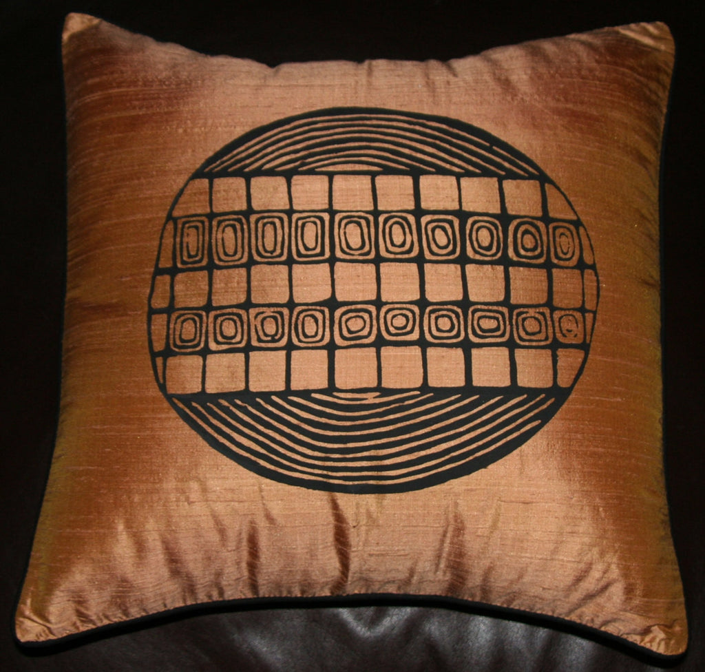 Designer Handwoven Gold Raw Silk African Pillow/Cushion Cover - Cultures International From Africa To Your Home