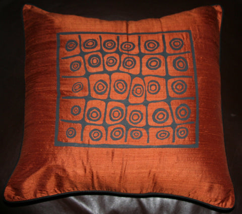 Silk Bushman Symbol Pillow Cover Copper - culturesinternational  - 1