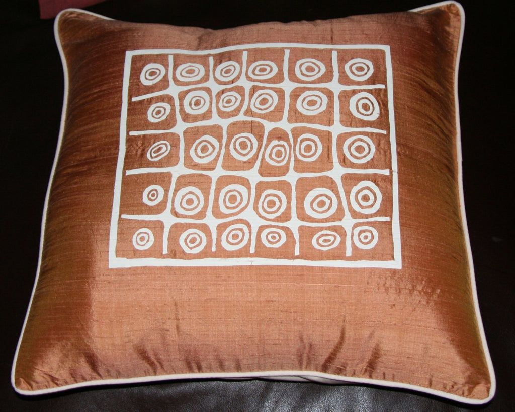 Designer African Handwoven Raw Silk Brown and White Pillow