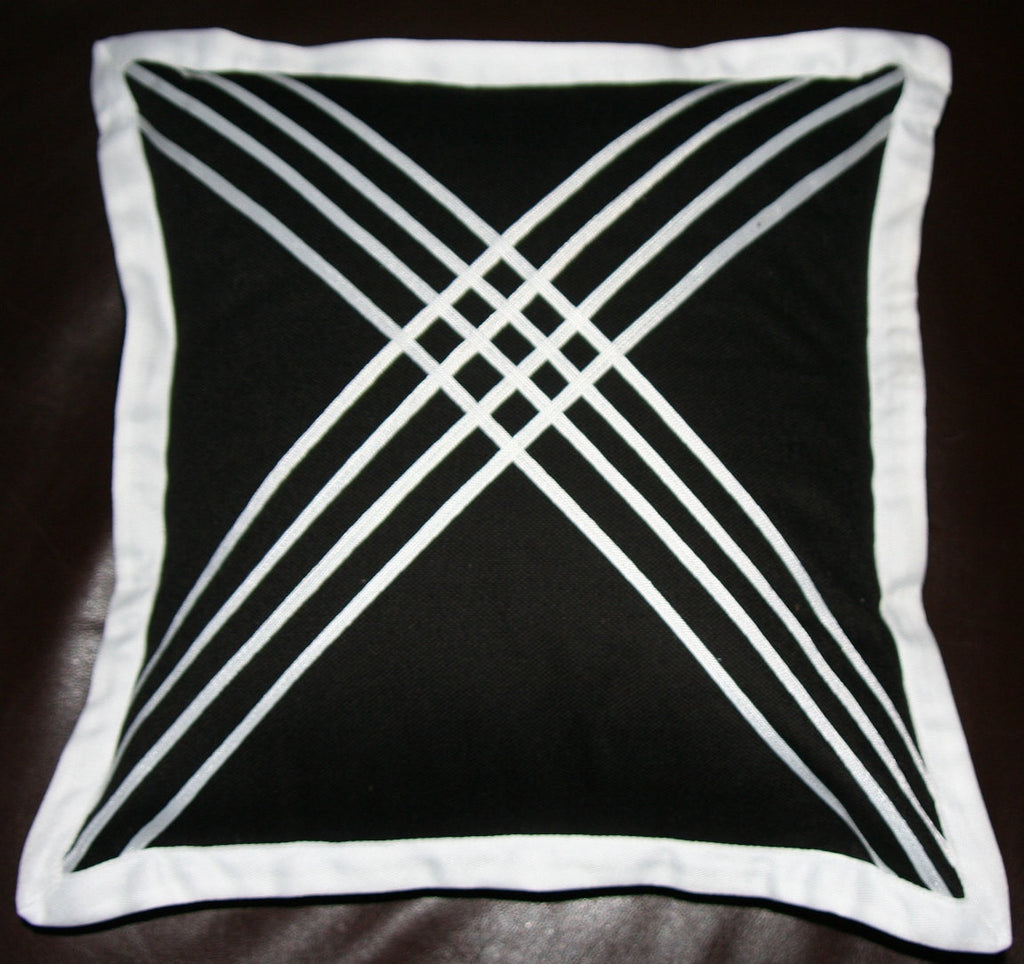 Designer African Tribal Black Pillow Handmade Cotton -  White Applique - Cultures International From Africa To Your Home