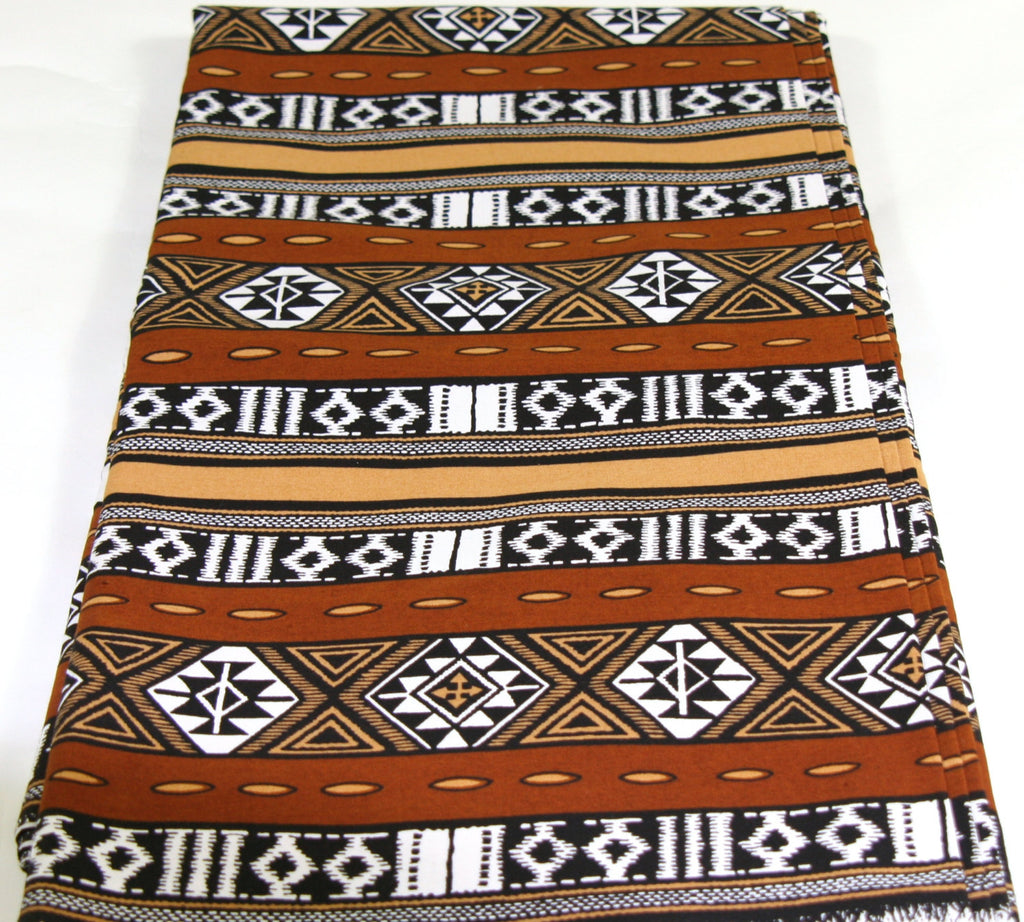 African Fabric 6 Yards Brown, White, Gold, Black - Vintage - Cultures International From Africa To Your Home