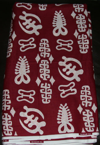 African Fabric Burgundy White 11.5 Yards