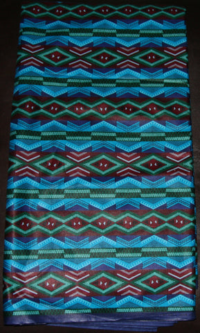 African Fabric 10 Yards Waxed Blue, Gold, Red, Green