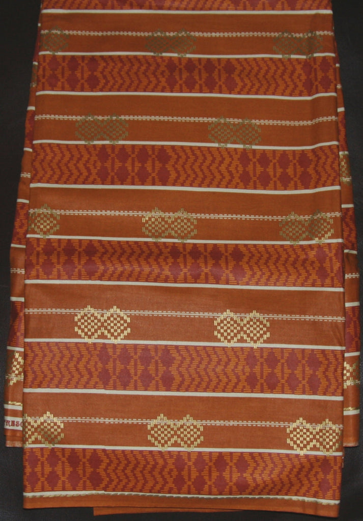 African Fabric Gold Copper Bronze Waxed Print 6 Yards - culturesinternational  - 1