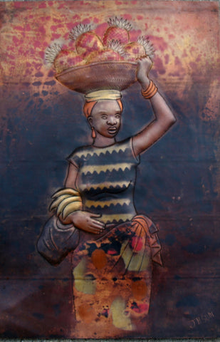 "African Copper Art  Woman With Basket of Fruit - Congo DRC - 8"" X 12"""