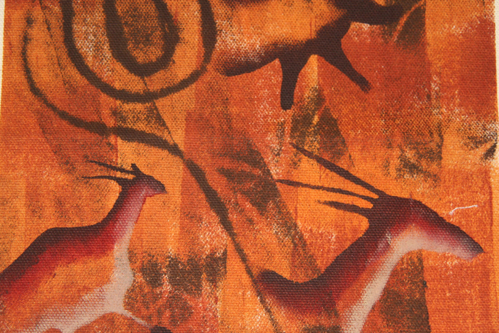 "African Cave Art Fabric Painting 14"" W X 19"" H"