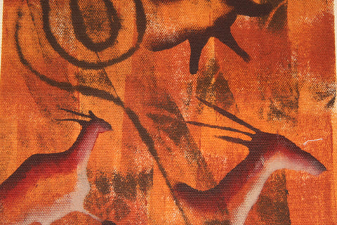 "African Cave Art Fabric Painting 14"" W X 19"" H - Cultures International From Africa To Your Home"