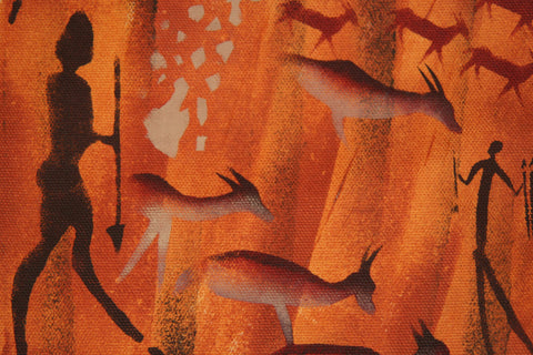 "African Cave Art Fabric Painting 14.5"" W X 19.5"" L - Cultures International From Africa To Your Home"