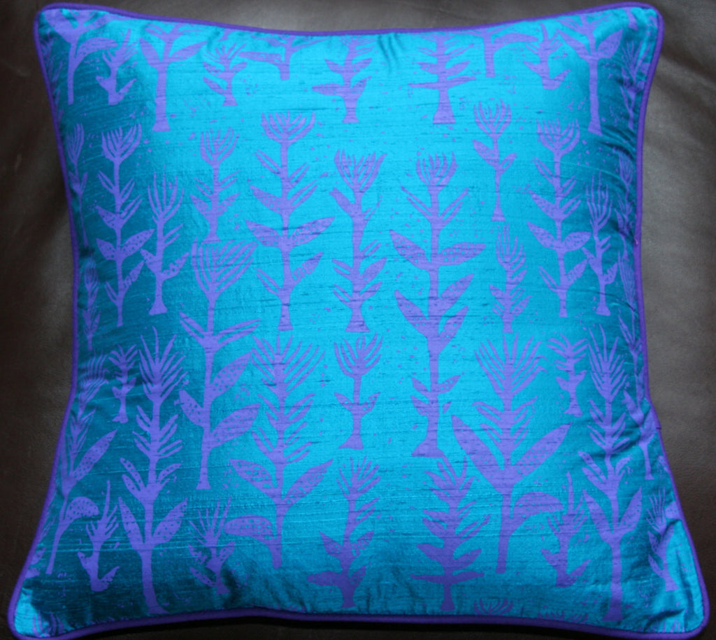 Designer Handwoven Blue Raw Silk African Pillow/Cushion Cover - Cultures International From Africa To Your Home