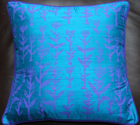 Designer Handwoven Blue Raw Silk African Pillow/Cushion Cover