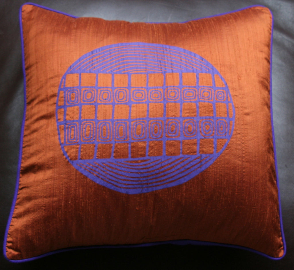 Designer Handwoven Copper Purple Raw Silk African Pillow/Cushion Cover