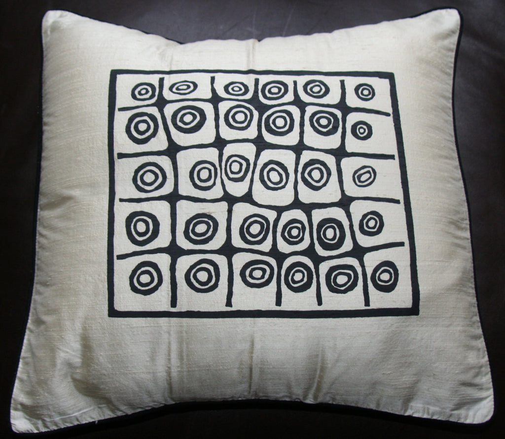 Designer African Handwoven Raw Silk White With Black Bushman Design - Cultures International From Africa To Your Home