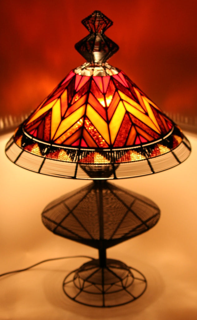 African Tiffany Style Stained Glass, Bead and Wire Lamp