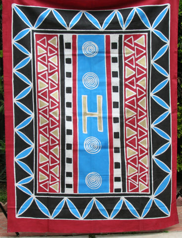 "African Batik Zimbabwe 56"" X 74"" - Vintage Red, Blue, Black Gold, Natural"