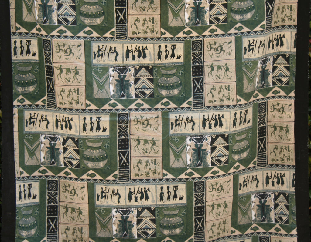 "African Screen Print Zimbabwe Fabric 60"" X 84"" Vintage - Cultures International From Africa To Your Home"