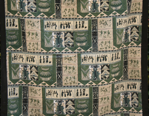 "African Screen Print Zimbabwe Fabric 60"" X 84"" Vintage"