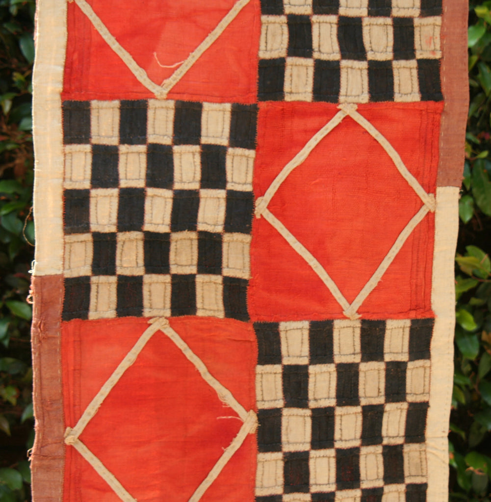 "Kuba Cloth African Textile Orange Black -Congo 20"" X 132"""