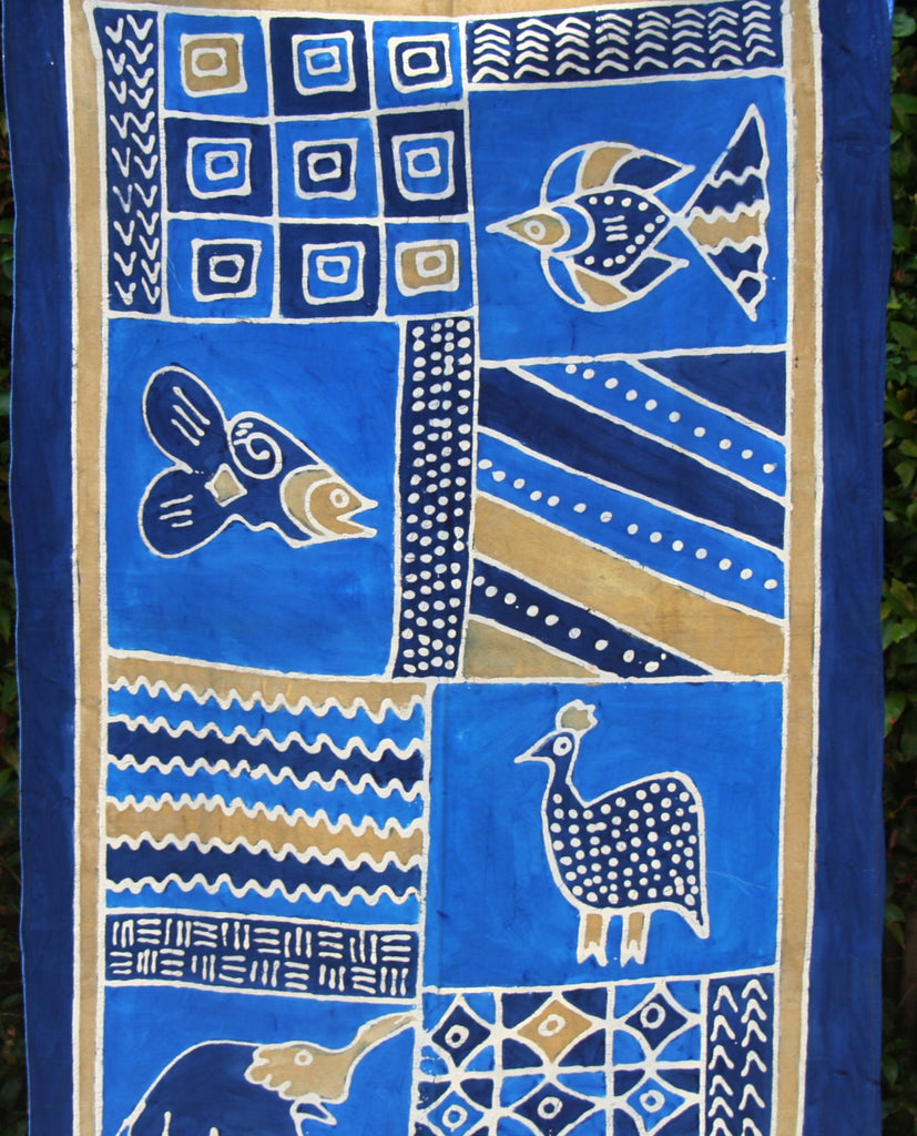 "African Batik Zimbabwe 37"" X 60"" - Elephant  Fish  Guinea Fowl in Abstract Blue Gold White - Cultures International From Africa To Your Home"