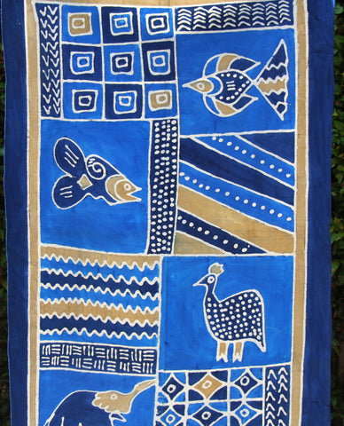"African Batik Zimbabwe 37"" X 60"" - Elephant  Fish  Guinea Fowl in Abstract Blue Gold White"