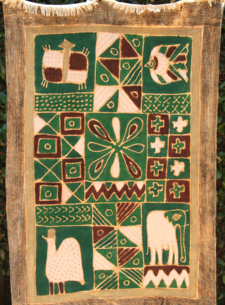 "African Green Batik Zimbabwe 34""X54"" -  Guinea Fowl, Elephant, Fish,Turtle - Green, White, Gold - Cultures International From Africa To Your Home"