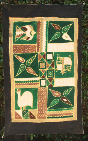 "African Batik Zimbabwe 34""X54"" - , Guinea Fowl, FishTurtle - Green, White, Gold, Black - Cultures International From Africa To Your Home"