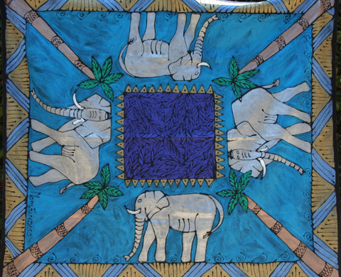 "African Handpainted Tablecloth 52""X60"" Elephant with Palm Trees"