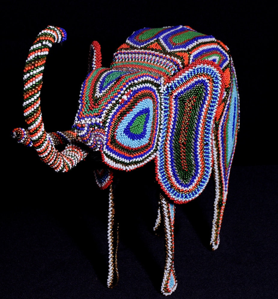 "African Elephant Sculpture Beaded Zulu Upturned Trunk Vintage 14""HX26""LX6""W - Handcrafted in South Africa"