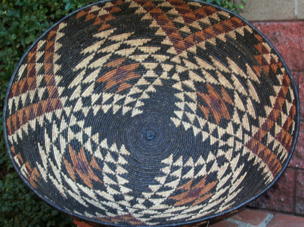 "Vintage Zulu Open Basket Isiquabetho  28""DX10""HX93""C - Cultures International From Africa To Your Home"