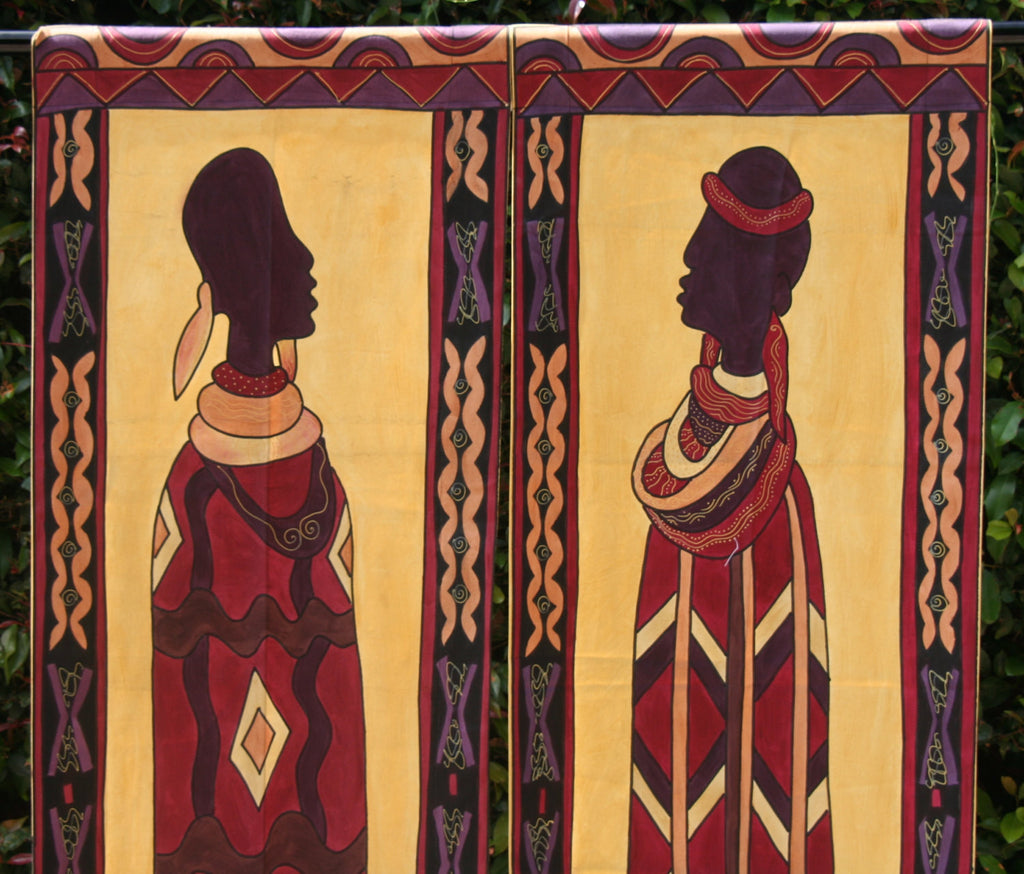"African Art Ndebele Wall Hangings 21""W X 77""L  Set of 2 - Cultures International From Africa To Your Home"