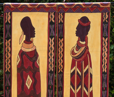 "African Art Ndebele Wall Hangings 21""W X 77""L  Set of 2"
