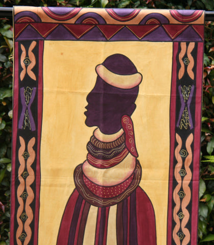 "African Ndebele Art Wall Hanging 21""WX77""L Handpainted in South Africa"