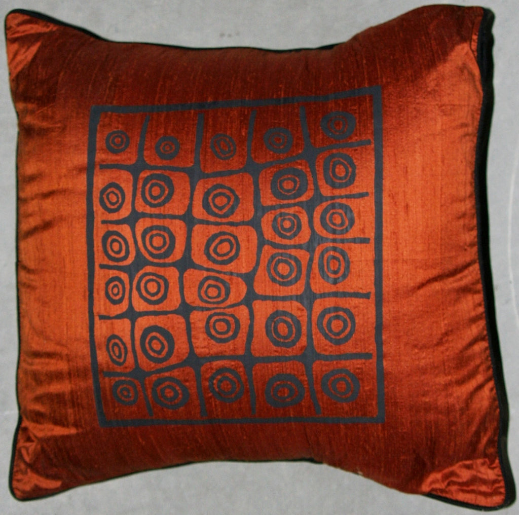 "Designer African Raw Silk Pillow Copper and Black 18.5"" X 18.5"""
