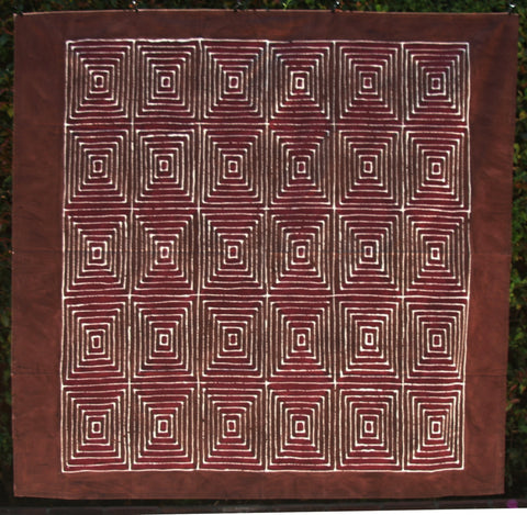 "Tablecloth Tribal Geometric Hand Painted  South Africa 58""X 60"""