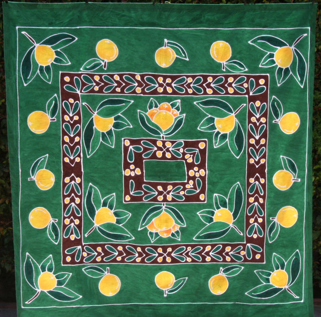 "Zulu Summer Oranges Tablecloth Green/Yellow - Handpainted - South Arica 57""X60"" - culturesinternational  - 1"