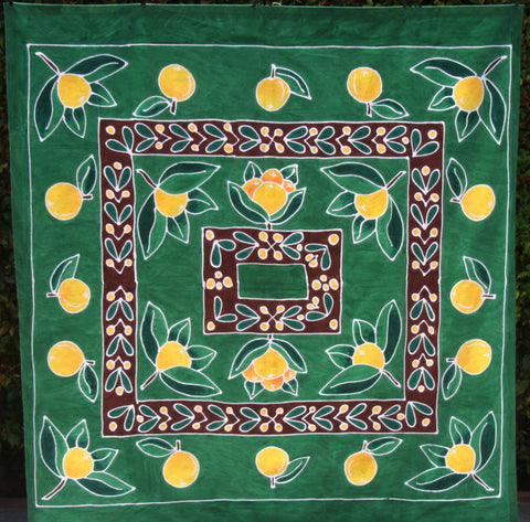 "Zulu Summer Oranges Tablecloth Green/Yellow - Handpainted - South Arica 57""X60"" - Cultures International From Africa To Your Home"