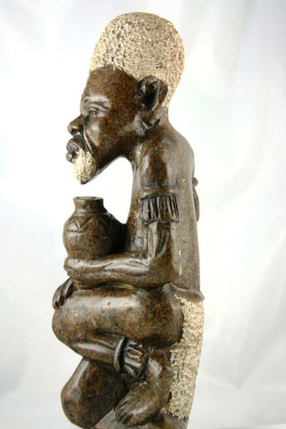 "African Shona Sculpture Serpentine Stone 14""H X 5""W Vintage Zimbabwe Art - Cultures International From Africa To Your Home"