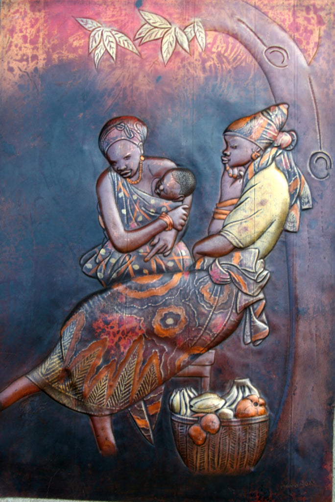 "African Copper Art  Women/Baby Under the Cassava Tree - Congo - 23""HX15.5"" - Cultures International From Africa To Your Home"