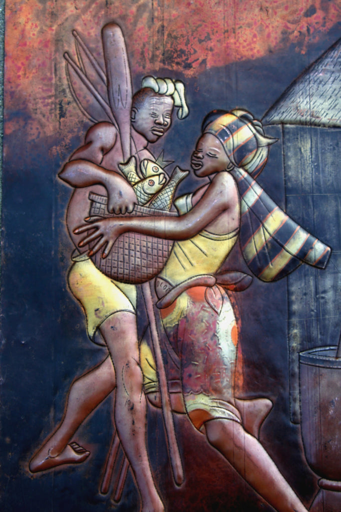 "African 3D Copper Art Couple Carrying Fish - Congo - 23""HX15.5"" - Cultures International From Africa To Your Home"