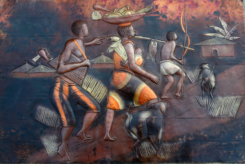 "African 3D Copper Art Family Returning Home Congo - 15"" H X23 W"""