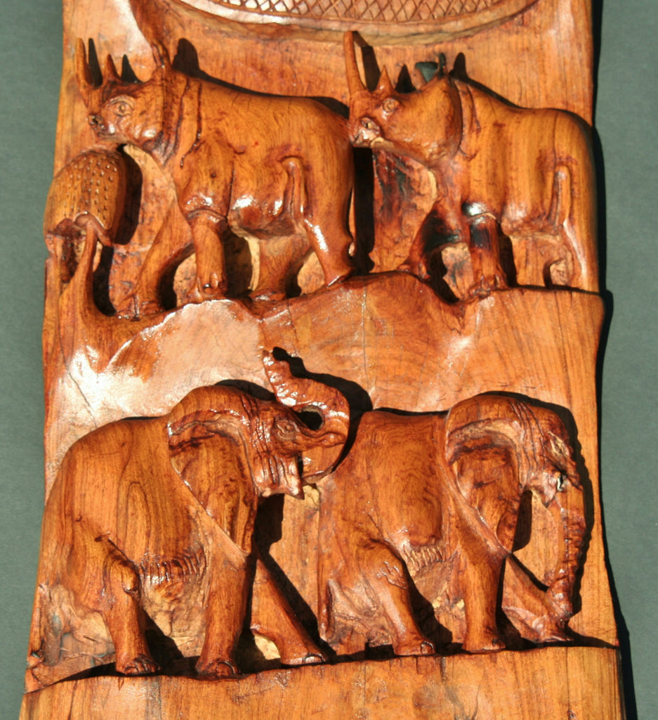 African olive wood carving big 5 elephant lion buffalo leopard